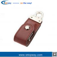 Buy cheap Portable 16gb black leather usb flash drive for gifts and promotion memory card from wholesalers