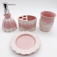 Buy cheap Pink Lace Dress Ceramic Bathroom Set / Soap Lotion Dispenser Set Dish Brush Holder from wholesalers