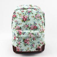 Buy cheap Oversized Flower Print Backpack , Brown Leather Canvas Backpack Customized Printing product
