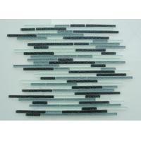Buy cheap Linear Wavy Crystal Glass Mosaic Tile, Strip Blue Glass And Stone Mosaic Tiles from wholesalers