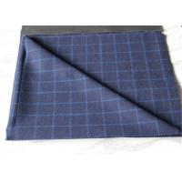 Buy cheap Medium Wool Plaid Fabric Navy Background And White Line , Window Pane Fabric from wholesalers