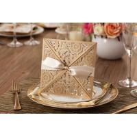 Buy cheap 2015 New Arrival Unique Laser Cut Floral Wedding Invitation Cards Golden from wholesalers