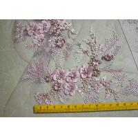 Buy cheap Embroidered 55 Inch Peach Color 3D Floral Rose Lace Fabric With Beads And Sequins from wholesalers