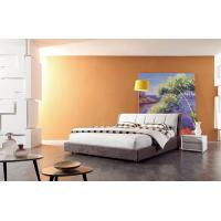 Buy cheap White Light Grey Upholstered Bed Full Size Bed With Solid Wood Frame from wholesalers