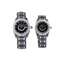 Buy cheap Round Crystal Surface Black Ceramic Watches, Japan Movt Watch For Genlemen Ladies from wholesalers