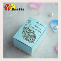 Buy cheap Luxury peacock wedding gift packing box with laser cutting names logo from wholesalers