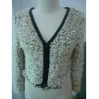 V Neck Long Sleeve Short Womens Zip Up Jacket , Womens Short Winter Coat