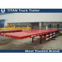 Buy cheap Tri - axle container semi flatbed trailers , red flatbed gooseneck trailers from wholesalers