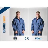 Buy cheap Dark Blue Disposable Chemical Protective Coverall SMS Clothing With Hood And Elastic Wrist from wholesalers