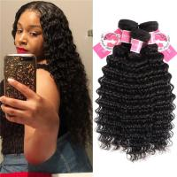 Buy cheap Deep Wave Peruvian Human Hair Bundles 3 Pieces Virgin Remy Hair Weave product