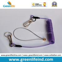 Buy cheap Purple Plastic Tool Coiled Lanyard W/Hook&Key Ring from wholesalers