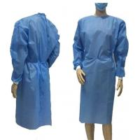 Buy cheap Blue Disposable Non Woven Gown , Medical Isolation Gowns Tear Resistant product