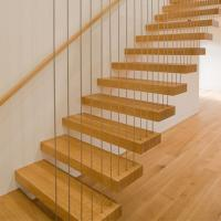China straight staircase wood steps, floating staircase with cable railing design on sale