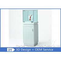 Buy cheap Shinning White Custom Glass Jewelry Display Case With Lighting 450 X 450 X 1250MM product