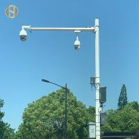 Buy cheap 10m Q235 Traffic CCTV Camera Pole Galvanized Single Arm For Monitoring from wholesalers