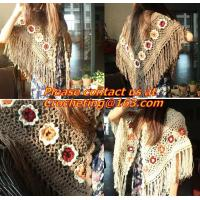 Buy cheap Hand Knitted Poncho, Brown Scarf,Wool Knit, poncho wrap, Green Free Knitting Crochet Woman from wholesalers