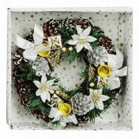 Buy cheap Artificial Garland for Home Decoration/Christmas, Decorated with Bows, Flowers, Small Bell/Pine Cone from wholesalers