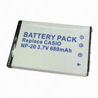 Buy cheap Camera Battery for Casio NP-20 with 680mAh Capacity from wholesalers