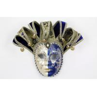 Buy cheap Blue Glitter Venetian Jester Mask Hand Made For Mens Mardi Gras Party from wholesalers