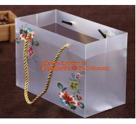 Buy cheap Customized square shape flower pattern long handle PP gift bag,flower vase, disposable flower plastic bag, plastic folda from wholesalers
