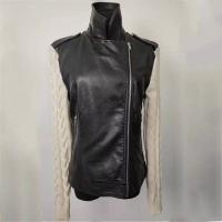 Buy cheap Girl's Trendy Black Leather Jacket Short Leather Coat With Knitted Sleeves product