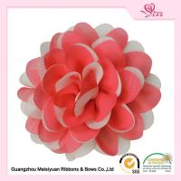 Buy cheap Charming Red Chiffon ribbon Handmade fabric flowers OEM / ODE Accepted from wholesalers