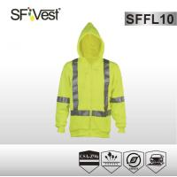 Buy cheap CSA Z96-09 standard sweatshirt high visibility safety clothing zipper front customizable with hood product