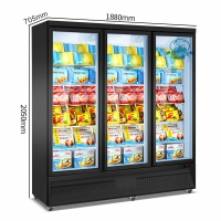 Buy cheap Supermarket Vertical Ice Cream Refrigerated Display Freezer Glass Door Showcase from wholesalers