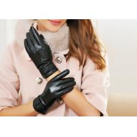 Buy cheap Pink or Black Leather Gloves For Women , Sheep Leather Gloves with Double Belt Cuff from wholesalers