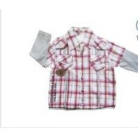 Buy cheap ODM Red, Blue Cotton Short Sleeve Summer Kids Plaid Shirts,Baby Sets Boys Lapel Blouse from wholesalers
