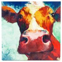 "Buy cheap 22"" x 22"" Square Colorful Decorative Wall Hand Painted Canvas With Big Cow from wholesalers"