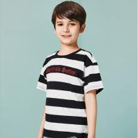 Buy cheap Two-tone Texture T-Shirt Kids' Clothes Short Sleeve Cotton Boys Clothing from wholesalers