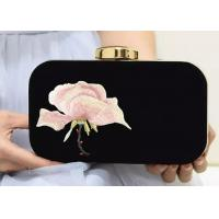 Buy cheap Unique Design Women ' S Evening Bags And Clutches , Floral Embroidered Purse With Golden Frame from wholesalers