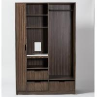 Buy cheap 5-star luxury new design Zebra wood veneer hotel wardrobe for hotel guestroom from wholesalers
