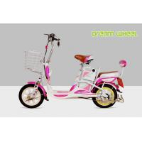 Mini Cool Pedal Assist Electric Bike 350W 48V Pink White Fashion Throttle System