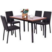 Buy cheap 5 PCS Dining Table Set 4 PU Leather Chairs Home Kitchen Breakfast Furniture from wholesalers