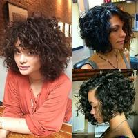 Buy cheap Brazilian Short Bouncy Curly Human Hair Full Lace Wigs with Baby Hair for Black Women Natural Color from wholesalers