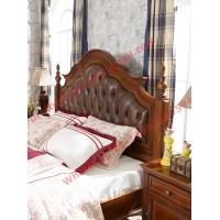 Buy cheap Leather Upholstery Headboard with Wooden Carving Frame in Bedroom Furniture sets from wholesalers