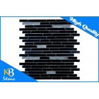 Buy cheap Lined Pure Black Marble Kitchen Bath Mosaic Tile Sheet , Random Strip Marble Tile Backsplash from wholesalers