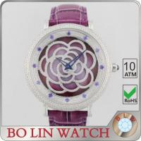 Buy cheap Flower Dial Colored Leather Diamond Quartz Watch Japan Movt Super Luminova from wholesalers