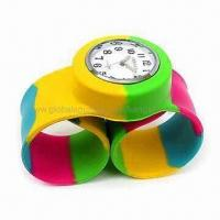 Buy cheap Rainbow Silicone Rubber Slap Band Geneva Large Size Watch from wholesalers