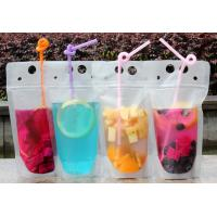 Buy cheap Lemonade / Cold Drinking Resealable Zip Lock Clear Stand Up Pouch With Straw from Wholesalers