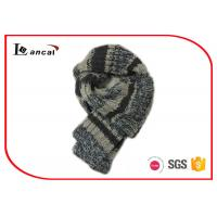 Buy cheap 100% Wool Knitted Hooded Scarf Grey Stripe Crochet Scarves For Women from wholesalers
