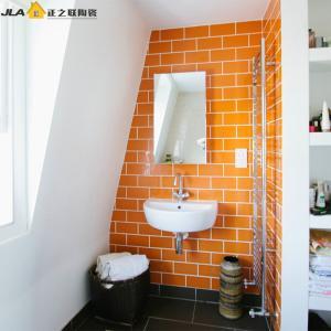 Buy cheap Orange Waterproof Bathroom Tiles 7.5x15cm Subway Style Tile Acid Resistant product