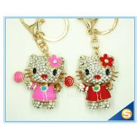 Buy cheap New Animal Metal Bag Ornament Cute Crystal Flower Cat With Candy Key chains Charm Pendant from wholesalers