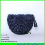 Buy cheap LUDA navy blue raffia handbags fashion handmade raffia straw clutch bag from wholesalers
