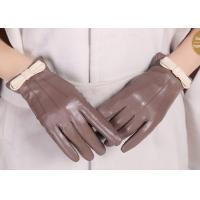Buy cheap Bowknot Cuff Sheep Leather Ladies Wearing Leather Gloves , Women's Hand Gloves from wholesalers