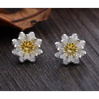 Buy cheap lotus flower 925 sterling silver stud earrings, sterling silver jewelry from wholesalers