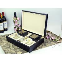 Buy cheap Arab style black wood perfume gift box packaging with 2 small boxes from wholesalers