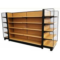 Buy cheap wooden grain metal shelves grocery store double side supermarket shelf with 65 kg capacity product
